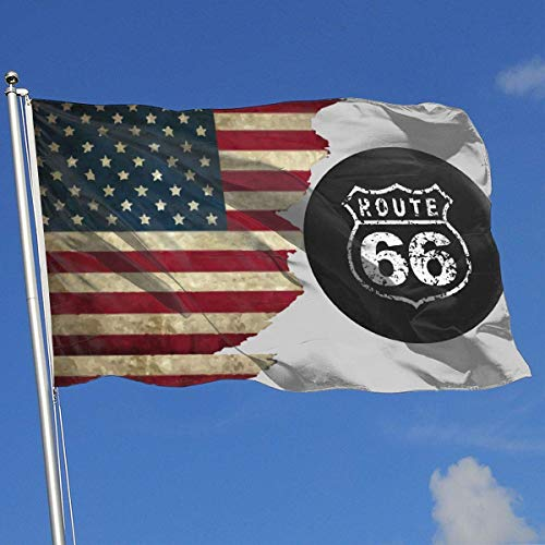 N / A Decorative Garden Flags,Piraten Flagge,Outdoor Artificial Flag,Yard Flagge Banner,Werbeflagge,Amerikanische Flagge Route 66 Vacation Highway Road Sign 3X5 Ft Flagge