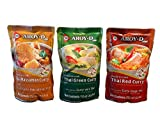 AROY-D Premixed Coconut Milk with Thai Curry Pack of 3 Flavours Massaman Green Red Curry Ready to...