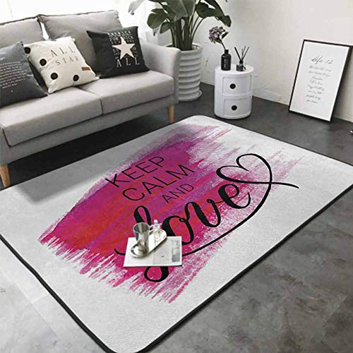 "Floor Mat for Toilet Non Slip Love Theme with Hand Drawn Watercolor Stain Brush Stroke and a Heart 80""x 120"" Best Floor mats"