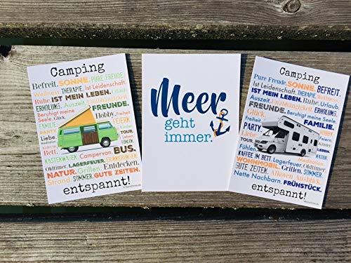 Camping entspannt! Meer geht immer! Postkarten Set 3 Stück AnneSvea postcard Urlaubsgrüße Camper Bus Wohnmobil Wohnwagen Van Deko Adventskalender Befüllung