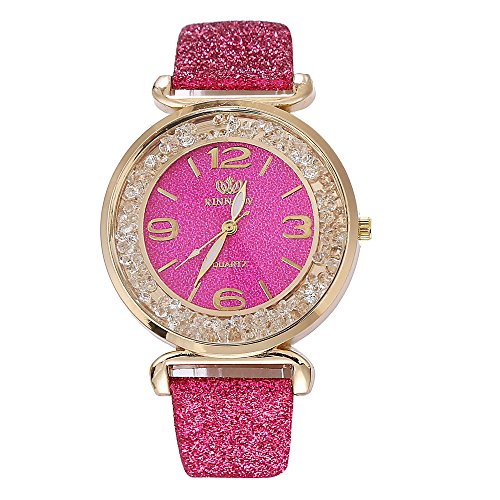 Proumy Uhren,Ausverkauf Lässige Mode Damen Quarzuhr Watch Analoger Quarz Automatikuhren Rostfreier Stahl PU Lederband (Rose rot)