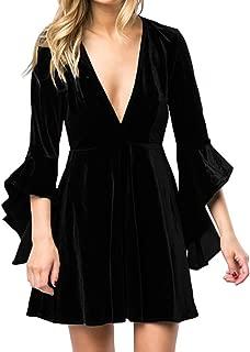 Womens Deep V Neck Flare Bell Sleeve Velvet Swing Pleated Mini Dress for Cocktail Party Club
