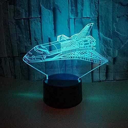 Nave espacial 3D luz de la noche lindo 7 color cambiante 3D luz habitación del bebé luz regalo de Navidad Ledusb niños luz dormitorio luz