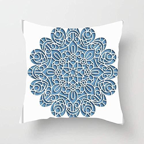 N\A Borde Azul Panel Blanco Recorte Patrón Redondo Ornamental Lasercut Christmas Circle Crochet Curly Throw Pillow Cover Funda de Almohada Decorativa para el hogar para sofá Cama