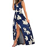 High Split Dress for Women,Sexy Spaghetti Straps Deep V Neck Sleeveless Halter Ruched Floral Print Swing Maxi Dress Blue