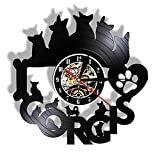 llvvv Me Encanta Cokey Reloj de Pared con Disco de Vinilo Retro Negro LP Perro Dueño Regalo Decoración del hogar Reloj de Pared sin marcar