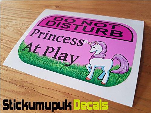 Niet storen, Princess At Play - Eenhoorn Deur Sticker/Laptop Sticker, 125mm x 80mm - kleur Gedrukt Vinyl Auto Sticker/Decal Free P+P