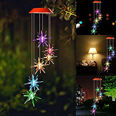 SIX FOXES Solar Wind Chime,Explosion Star Wind Chimes Outdoor LED Light Waterproof Romantic Wind Chime for Home, Party, Festival, Night Garden Decoration