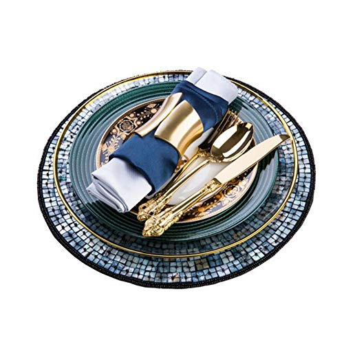 XCXDX Set da Pranzo Chic in Porcellana Verde Scuro, Tovaglietta Tonda Fatta A Mano, Cucchiaio per Posate d'oro, Regalo di Benvenuto