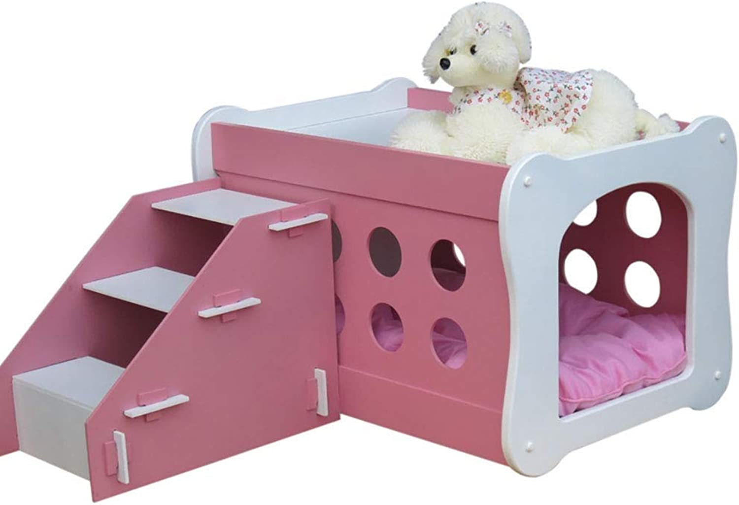 Pet stairs 2 Layer Dog Stair Wooden Pet House Puppy Cat, Pet Bed And Activity Stairs (color   Pink)