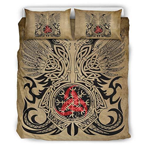 DAMKELLY Store Jeté de lit Viking Tattoo doux et coloré – Couvre-lit 1 housse de couette et 2 taies d'oreiller – Lavable en machine – Blanc 264 x 229 cm