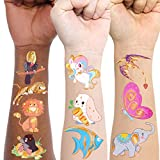 Konsait Temporary Tattoos for Kids, 50 Pieces Animal Metallic Temporary Tattoos for Boys Girls, Unicorn Dinosaur Butterfly Seahorse Ladybird Flamingo Customerized Tattoos Party Favors Party Supplies