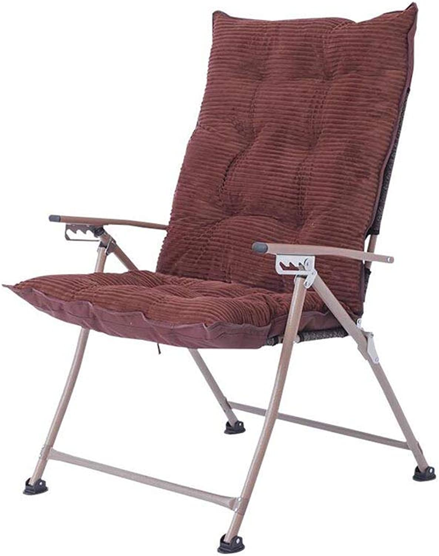QZ HOME Stühle, Klappstuhl Computer Stuhl Sonnenliege Fauler Stuhl Mittagspause Stuhl Einfach Tragbar Abnehmbares Kissen (Farbe   braun)