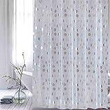 ufengke Duschvorhang Silber Leuchtender Punkt mit 12 Haken Weiß Duschvorhang aus PEVA Wasserdicht Anti Schimmel für Badezimmer 180x180cm