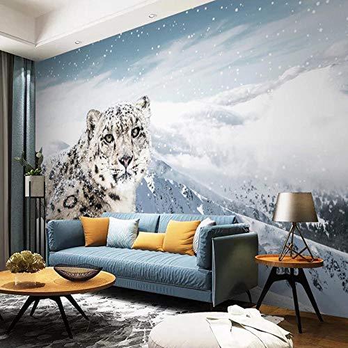 Papel pintado con foto 3D personalizado, mural, Animal, leopardo, nieve, montaña, sala de estar, sofá, dormitorio, Fondo, Mural de pared, decoración del hogar-350x250cm