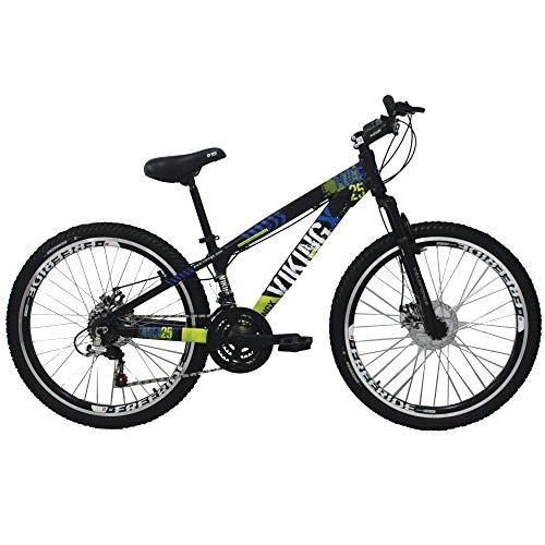 Bicicleta Viking X TUFF25 Freeride Aro 26 Freio a Disco 21 Velocidades Cambios Shimano Preto Amarelo Vikingx