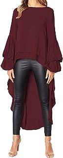 Tops Blouse Women Irregular Ruffles Shirt Long Sleeve Sweatshirt Pullovers