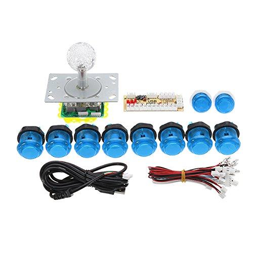C-FUNN Pc USB Controlador Joystick Botón Pulsador DIY Set Kit para Juego Arcade - Blanco