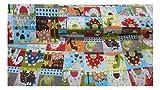 Fabrics-City BUNT PATCHWORK DINOS BAUMWOLLSTOFF DINOSAURIER