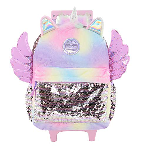 Mozioni Kids Fashion 16' Rolling Carry-on Backpack for Girls, School & Travel Luggage,Wings and silver sequin durable material
