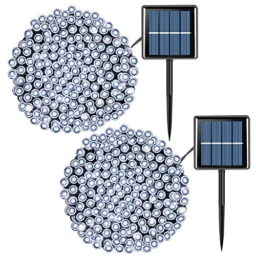 2 Pack 66ft 200 LED Solar String Lights Outdoor Waterproof, 8 Modes Solar Christmas Lights White, Solar Powered Twinkle Lights Green Wire
