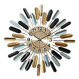 現代のミニマリストの装飾的な錬鉄製の手作りの壁時計アートデザインリビングルームの寝室の時計人格クリエイティブファッションミュートウォールチャート直径52センチ、ダイヤル直径22センチ 一意