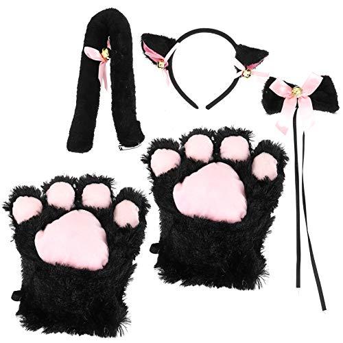 FRCOLOR Gato Lindo Disfraz Cosplay Gato Lolita Anime Gato Orejas Clips Orejas de Gato Diadema Cola Pata Pajarita Set para Niñas Mujeres Paquete de 5