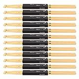 12 pares de baquetas, baquetas de madera de arce 5A para practicar en el escenario con un grosor moderado y buen agarre para tambores