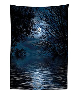 "Lunarable Night Sky Tapestry, Witchcraft Spell Ceremony Atmosphere Forest Full Moon Branches Image, Fabric Wall Hanging Decor for Bedroom Living Room Dorm, 30"" X 45"", Blue Black"