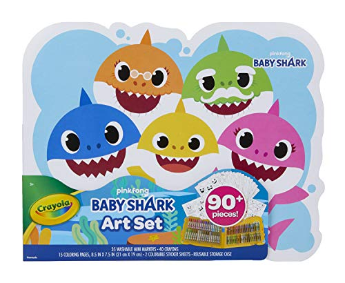 Crayola Baby Shark Art Set, 90 Pieces, Gift for Kids, Ages 3, 4, 5, 6,