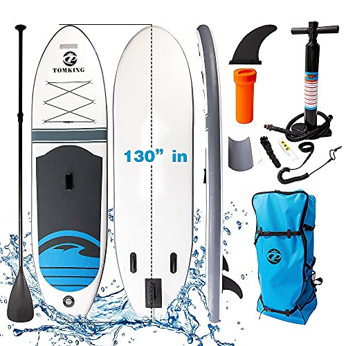 Inflatable Stand Up Paddle Board (6 Inches Thick) ,130''30''6''with Premium SUP Accessories & Backpack & Pump   Wide Stance, Bottom Fin for Paddling, Non-Slip Deck   Youth & Adult Standing Boat
