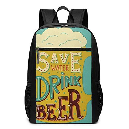 Schulrucksack Sparen Sie Wasser Trinken Bier Zitate, Schultaschen Teenager Rucksack Schultasche Schulrucksäcke Backpack für Damen Herren Junge Mädchen 15,6 Zoll Notebook