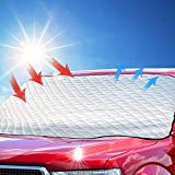 MYSBIKER Parasole Copertura Parabrezza Auto, Protezione Parabrezza Antighiaccio Anti UV Antifurto per Auto con Telo Magnetico 189x120cm