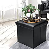EYLAEM Ottoman with Storage, 15 Inches Footrest Stool Cube Boxes, Folding Black Ottomans with Foam Padded Seat, Storage Chest, Coffee Table/Puppy Step, Max Static Load 380 lbs, Faux Leather