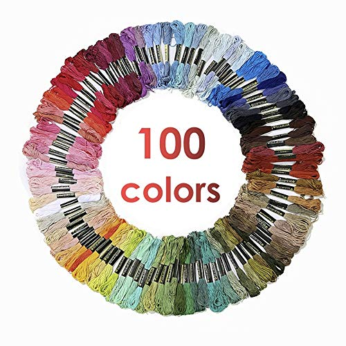 Premium Rainbow Color Embroidery Floss, Cross Stitch Threads, Needlepoint Thread, Crafts Floss, Bracelets, Friendship Bracelets Floss,100 Color