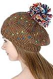 SERENITA Women Knit Beret Beanie Hat with Pompom Cute Soft Stretch Ribbed Handmade Warm Winter Cap, Stitch...