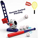 iPlay, iLearn 2 in 1 Baseball & Tennis Pitching Machine, Remote Control Bat, Automatic Pitcher, Active...