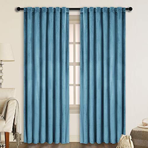 SNITIE Blue Velvet Curtains with Back Tab and Rod Pocket Thermal Insualted Soft Privacy Light Filtering Velvet Drapes for Bedroom and Living Room, Set of 2 Panels, 52 x 108 Inches Long