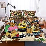 AMCYT Juego de ropa de cama de microfibra transpirable con estampado de osito de peluche, funda de edredón y almohada cómodos y suaves, con cremallera, Easy Care, 6, 200*200