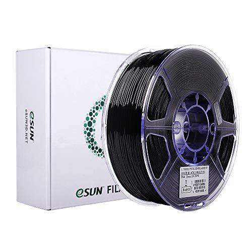 eSUN PETG Filament 1.75mm, PETG 3D Drucker Filament, Maßgenauigkeit +/- 0.05mm, 1KG (2.2 LBS) Spule für 3D Drucker in Vakuumverpackung, Solide Schwarz