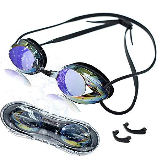 PPuujia Kinder-Schwimmbrille, Anti-Beschlag-UV-Schutz, Schwimmbrille mit ultra-niedrigem Profil-Design, für Erwachsene, Männer, Frauen, Jugendliche, Kinder, Triathlon (Farbe: Schwarz, Brillengröße: L)