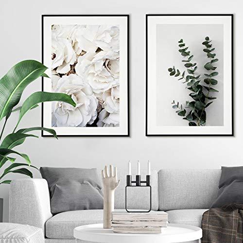 Póster de rosas blancas impresiones de lienzo nórdico pintura de eucalipto Branc imágenes artísticas de pared para sala de estar decorativa 40X60cmx2pcs sin marco