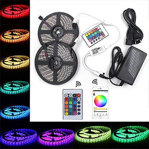 DTer Ledstrips 10M/32.8ft 600 5050 RGB LEDs IP65 waterdichte LED-strips met 24 toetsen afstandsbediening en bediening van smartphone-app voor feesten, kamer, slaapkamer, tv, games
