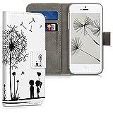 kwmobile Wallet Hülle kompatibel mit Apple iPhone SE (1.Gen 2016) / 5 / 5S - Hülle mit Ständer Kartenfächer Pusteblume Love Schwarz Weiß