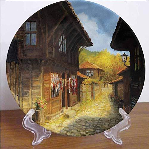 Channing Southey Plato decorativo de 20,32 cm, diseño de casas de madera en otoño, de cerámica, apto para microondas y lavavajillas, accesorio de decoración para fiestas, cocina, decoración del hogar