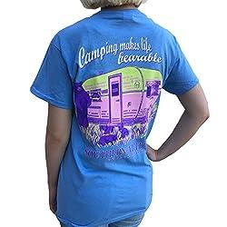 Southern Attitude Camping Makes Life Bearable Carolina Blue Women's T-Shirt