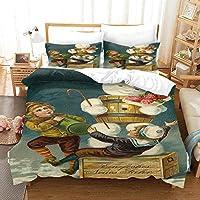 寝具セット3Dデザインパターンキングサイズ羽毛布団キルトカバー 240x220cm 漫画の小さな男の子 マルチカラーベッドルーム装飾ベッドセットジッパークロージャーイージーケア