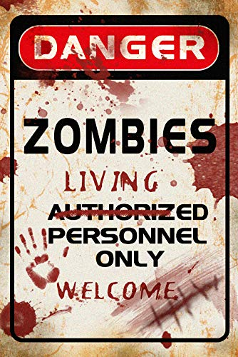 ART DIY Halloween Decorations Metal Sign Zombies Clearance Vintage Tin Signs Scary Cool Decor Happy Halloween Welcome for Yard Porch Front Door Hanging Outdoor Indoor Wall 8 X 12 INCH