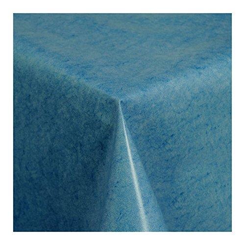 WACHSTUCH Tischdecken Wachstischdecke Gartentischdecke, Abwaschbar Meterware, Länge wählbar, Uni Blau Blau Melliert (225-01) 200cm x 140cm