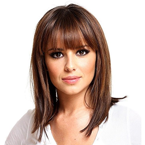 HAIRCUBE Long Brown Bob Wigs Auburn Highlight Wigs Medium Length Wigs for Women Human Hair Wigs Blend Healthy Synthetic 16 Inch Wigs with Bangs